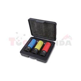 """720 LC/C3 - К-т вложки ударни шестостен на 1/2"""" с цветно тефлоново покритие (3 бр) в пластмасова кутия"""