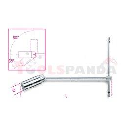 957 20,8 - Ключ Т-образен с вложка шестостен на шарнир за запалителни свещи 13/16 L275мм