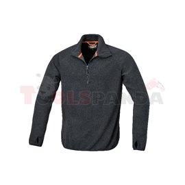 7635N /XXXL - Пуловер, 100% микрофибър с антипилингова обработка, яка с цип, 180 гр/м², черно