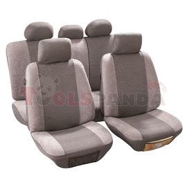 Cover seats T2 (polyester, light-grey, front+rear set, 5 headrest covers + 2 seat covers + 2 front support + 1 rear seat cover +