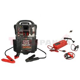 Starting device model: P2, voltage: 12/24V, cCA: 2400/1200A, max. cranking ampere: 5400/2700A, weight: 32,5 kg, cable length: 2,