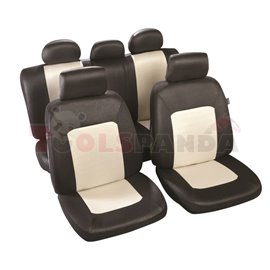 Cover seats T2 (polyester, black, front+rear set, 5 headrest covers + 2 seat covers + 2 front support + 1 rear seat cover + 1 su