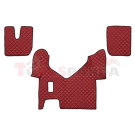 Floor mat F-CORE IVECO, on the whole floor, ECO-LEATHER, quantity per set 3 szt. (material - eco-leather, colour - red, manual t