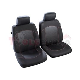Cover seats 1/2 (polyester, red, front seats, 2 headrest covers + 2 front seat covers) Flaine, compatible with airbags with head