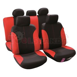 Cover seats T2 (polyester, black/red, front+rear set, 5 headrest covers + 2 seat covers + 2 front support + 1 rear seat cover +