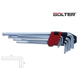 Шестограми Г-образни удължени за работа под ъгъл Long CR-V. 9 бр. к-т | BOLTER
