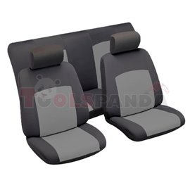 Cover seats TU (polyester, black/grey, front+rear set, 2 headrest covers + 2 seat covers + 1 rear seat cover + 1 support cover)