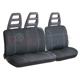 Cover seats T6 (polyester, black, front seats, 1 seat cover + 1 support cover + 1 rear seat cover) Murray, compatible with airba