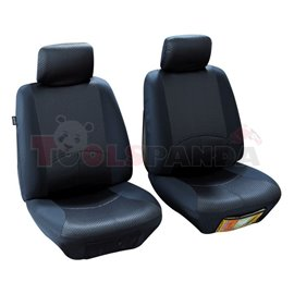 Cover seats T1 (polyester, black, front seats, 2 headrest covers + 2 support covers + 2 seat cover + 2 seat) Managua, compatible