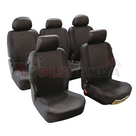 Cover seats T4 (polyester, black, 5 fronts, 5 headrest covers + 5 seat covers + 5 support covers) Managua, compatible with airba