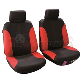 Cover seats T1 (polyester, black/red, front seats, 2 headrest covers + 2 support covers + 2 seat cover + 2 seat) Callao, compati