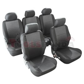 Cover seats MONO (polyester, black, 5 seats, 5 headrest covers + 5 front seat covers) Morillon, compatible with airbags with hea