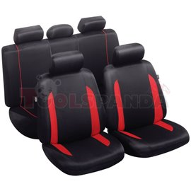 Cover seats TS (polyester, black/red, front+rear set, 5 headrest covers + 2 seat covers + 1 rear seat cover + 1 support cover) C