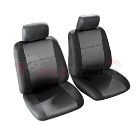 Cover seats 1/2 (polyester, black, front seats, 2 headrest covers + 2 front seat covers) Morillon, compatible with airbags with