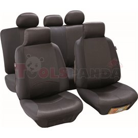 Cover seats T3 (polyester, black, front+rear set, 3 headrest covers + 2 front seat covers + 2 front support covers (with headres