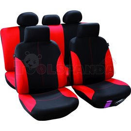 Cover seats T3 (polyester, black/red, front+rear set, 3 headrest covers + 2 front seat covers + 2 front support covers (with hea