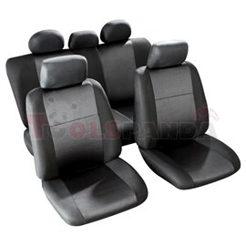 Cover seats TS (polyester, black, front+rear set, 5 headrest covers + 2 seat covers + 1 rear seat cover + 1 support cover) Moril