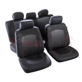 Cover seats TS (polyester, red, front+rear set, 5 headrest covers + 2 seat covers + 1 rear seat cover + 1 support cover) Flaine,