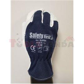 12 чифта, Защитни ръкавици, SUPER GOAT, памук / кожа, цвят: тъмно / сиво, размер: 10 / XL, 2121 EN 388 EN 420 Категория II
