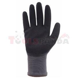 12 чифта, Защитни ръкавици, АКТИВЕН ГРИП, нитрил / полиестер, цвят: черен / сив, размер: 10 / XL, 2016 4121X EN 388 EN 420 Катег