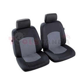 Cover seats T1 (polyester, black/grey, front seats, 2 headrest covers + 2 support covers + 2 seat cover + 2 seat) Manaus, compat