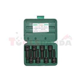 "Air impact sockets with bit set 1/2"", 8pcs, XZN : M10 M14 M16 M18 M6 M8 M9"