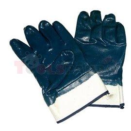 12 чифта, Защитни ръкавици, P008, нитрил, цвят: син, размер: универсален, предназначен за работа с масла и мазнини, 4211 EN 388