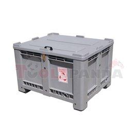 Pojemnik na zużyte akumulatory, pojemność 500l, pełny, pokrywa, uchwyty, zamykany, Materiał wzmocnione HDPE, wymiary 1200 X 1000