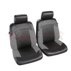 Cover seats 1/2 (polyester, black/grey, front seats, 2 headrest covers + 2 front seat covers) Morzine, compatible with airbags w