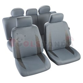 Cover seats TS (polyester, grey, front+rear set, 5 headrest covers + 2 seat covers + 1 rear seat cover + 1 support cover) Comblo