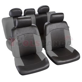 Cover seats TS (polyester, black/grey, front+rear set, 5 headrest covers + 2 seat covers + 1 rear seat cover + 1 support cover)