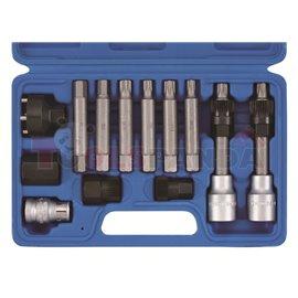SONIC Zestaw narzędzi 13szt nasadek do obsługi alternatorów paskowych, współpracują z narzędziami ręcznymi i pneumatycznymi