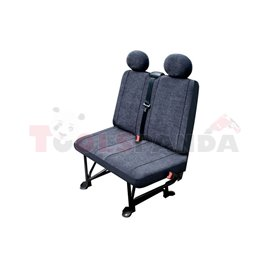 Cover seats (velvet, colour: graphite, double passenger seat) BUS II L, compatible with airbags