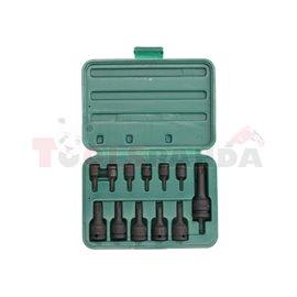 "Air impact sockets with bit set, 12 pcs, socket / Drive: 1/2, 1/4, 3/8"", TORX bit socket(s), torx / Pentacle size: T10, T15, T20"