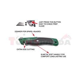 (PL) Nóż (PL) wysuwany, дължина: 160 mm, (PL) metalowy, z magazynkiem na zapasowe ostrza i systemem szybkiej wymiany