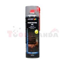 Проникващо масло с MOS2 0.5L, приложение: корозиращи резбови връзки, отстраняване на ръжда, отстраняване на вода, заземени винто