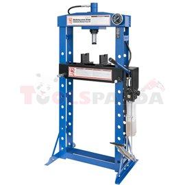 Hydraulic press hand-foot operated, force: 20t, number of regulation levels: 10, moving cylinder, cylinder stroke 190 mm, welded