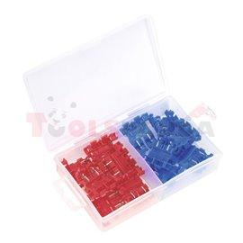 Комплект 12 броя (два вида) пластмасови конектори и фитинги за обвързване на предпазители по електрически проводници.