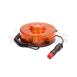 Rotating beacon (orange, 12/24V, LED, magnetic fixing, no of programs: 11, 11 programs, 3Wx14, with 3m spiral wire, with lighter