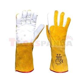 12 чифта, Защитни ръкавици, ARAMIS, кожа, цвят: жълт, размер: 14, предназначение: заваряване, EN 388 EN 407 EN 420 Категория II,