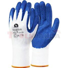 12 чифта, Защитни ръкавици, RS RNYLA RABBIT, латекс / полиестер, цвят: бял / син, размер: 9 / L, 3131 EN 388 EN 420