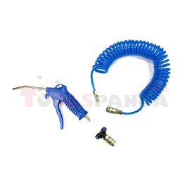 Air blow gun, inlet size: 5.5mm, nozzle length: 95mm, (for driver's cab, kit with hose 8mm and valve, T-piece for tekalan)