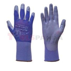 12 pairs, Protective gloves, BLUE LIGHT, nylon / poliuretanowe, colour: blue/ grey, size: 9 / L, 2121 EN 388 EN 420