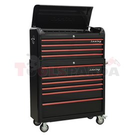 Empty tool trolley, number of drawers: 10, series: RETRO, colour: black/red width: 1100mm, depth: 460mm, height: 1040mm, black w