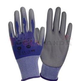 12 чифта, Защитни ръкавици, BLUE LIGHT, найлон / полиуретан, цвят: син / сив, размер: 8 / M, 2121 EN 388 EN 420
