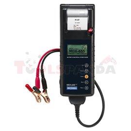 MDX-655P START&STOP Conductance battery tester 6/12V, 100-2000 EN, served battery type: AGM, EFB, GEL, WET printer, charging sys