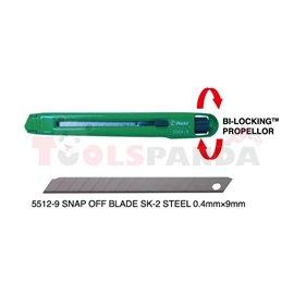 (PL) Nóż (PL) wysuwany, дължина: 135 mm, (PL) metalowy, ostrze łamane o wymiarach 0,5mm x 9mm