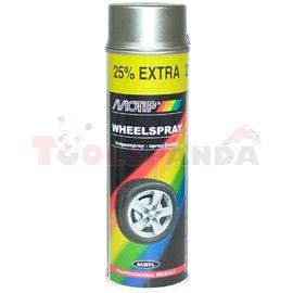 Сребърен, акрилен лак (0,5 л) за джанти, гланц, приложение: аерозол