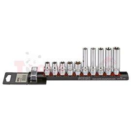 """Комплект вложки, тип: TORX-E, размер на щифт: 1/4, 3/8"""", брой инструменти: 10 бр (на релса)"""
