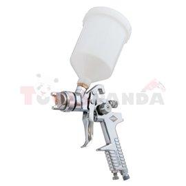 Pistolet lakierniczy HP dysza 1,7 ze zbiornikiem 600 ml Ciśnienie robocze 3 bary zużycie powietrza 90-140 lt/min